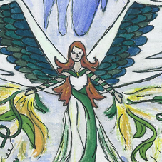 A winged woman summoning plants to her aid.