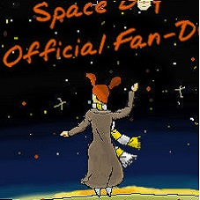 Amy, in a long coat and with her yellow and white scarf stand against the starry expanse of space with Oliver's space ship overhead in the distance.